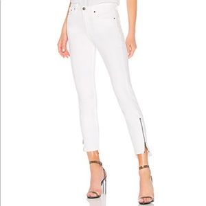 Free people white zipper ankle jeans